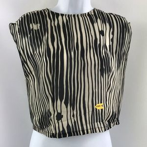 Alice + Olivia Black Print Short Sleeve Size XS